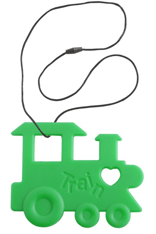 Green Train Teether with cord