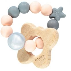 Butterfly Natural Teething Toy Peach and Grey