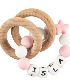 Personalised Teething Rattle baby Girl