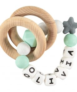 Personalised Mint and white teething rattle