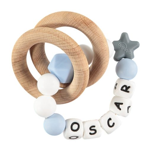Personalised Teething Rattle Blue and White