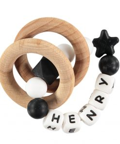 Personalised Baby Teething Rattle Black and White